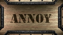 annoy on wooden stamp - stock footage