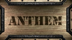 Stock Video Footage of anthem on wooden stamp