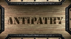 antipathy on wooden stamp - stock footage