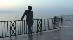 Spain Nerja Balcon de Europa King Alfonso XII statue Stock Footage