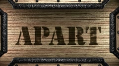 Apart on wooden stamp Stock Footage