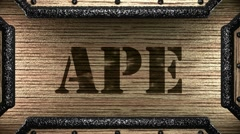 ape on wooden stamp - stock footage