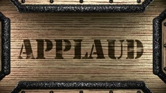 Applaud on wooden stamp Stock Footage