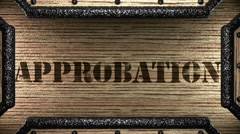 Approbation on wooden stamp Stock Footage