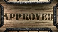 Approved on wooden stamp Stock Footage
