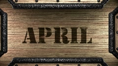 april on wooden stamp - stock footage