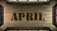 Stock Video Footage of april on wooden stamp