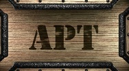 Apt on wooden stamp Stock Footage