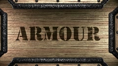 armour on wooden stamp - stock footage