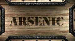 Arsenic on wooden stamp Stock Footage