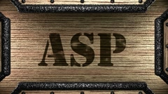 Asp on wooden stamp Stock Footage