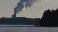 Stock Video Footage of Scandinavia Finland Rauma steam smoke puthering from chimney