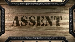 Assent on wooden stamp Stock Footage