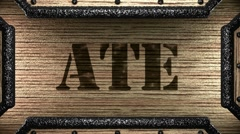 Ate on wooden stamp Stock Footage