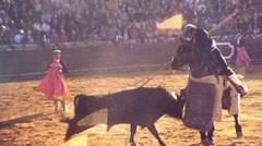 Picador Sticks  Bullfight Arena Spain Mexico 1970s Vintage Film Home Movie 482 Stock Footage