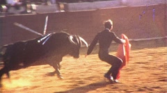 BULLFIGHT Brave Man MATADOR Fights BULL ARENA 1970s Vintage Film Home Movie 483 Stock Footage