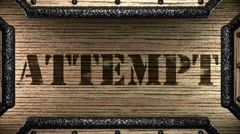 attempt on wooden stamp - stock footage