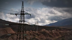 Electric transmission line - stock footage
