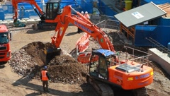 Construction Ground Work on Crossrail Train Link - stock footage