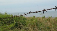 Stock Video Footage of Barbed wire by the beach.