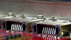 Slow flight past SATA connectors (rear), extreme shallow DOF Stock Footage