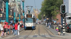 Tram in Amsterdam Stock Footage