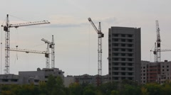 Construction cranes working - timelapse Stock Footage