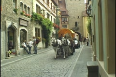 A Horse Drawn Cart in Rothenburg, Germany - stock footage