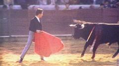 BULLFIGHT MATADOR BULL ARENA Fight 1970s (Vintage Film Home Movie) Stock Footage