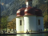 Stock Video Footage of St. Bartholoma, a Catholic church on Konigssee Lake, Bavaria, Germany