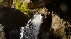 Close up panning waterful inside cave Stock Footage