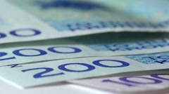 Norwegian Currency.  Kroner, slow track. Stock Footage