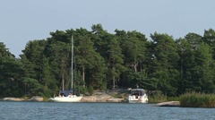 Moored boats in The Swedish Archipelago Stock Footage