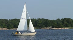 Sailboat in the Swedish archipelago Stock Footage