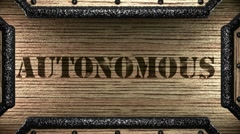 Autonomous on wooden stamp Stock Footage