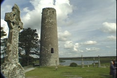 Clonmacnoise, Cross and Tower, Ireland Stock Footage