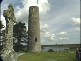Stock Video Footage of Clonmacnoise, Cross and Tower, Ireland