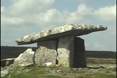 Dolmen, Tomb, in the Burren, County Clare, Ireland Stock Footage