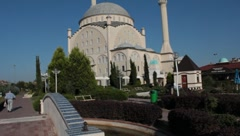 mosque,trees,park,bridge, - stock footage
