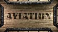 Aviation on wooden stamp Stock Footage