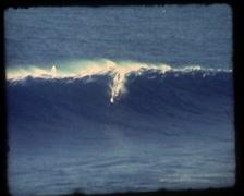 Vintage Windsurfer in big Wave Stock Footage