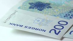 Norwegian Currency.  Kroner, pan right from bank name. Stock Footage