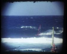 Vintage Windsurfer on Hawaii Stock Footage