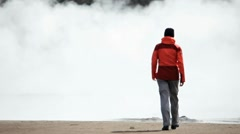 Female Hiker Viewing Hot Volcanic Steam Stock Footage
