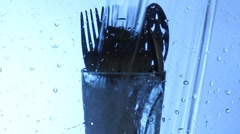 Washing kitchen utensil Stock Footage
