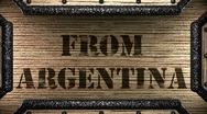 From argentina on wooden stamp Stock Footage