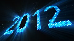 greetings new year 2012 of shining blue elements loop - stock footage