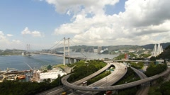 Tsing Ma Bridge at Summer 001 Stock Footage
