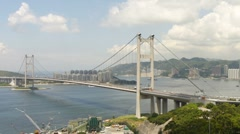 Tsing Ma Bridge at Summer 002 Stock Footage