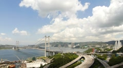 Tsing Ma Bridge at Summer 003 Stock Footage